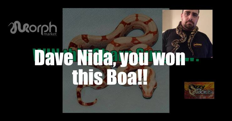 Winner of the Boa Constrictor Giveaway